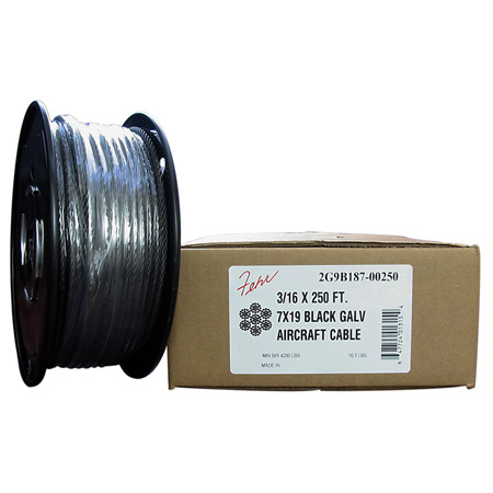 1/4 Diameter x 250 Foot 7x19 Black Aircraft Cable