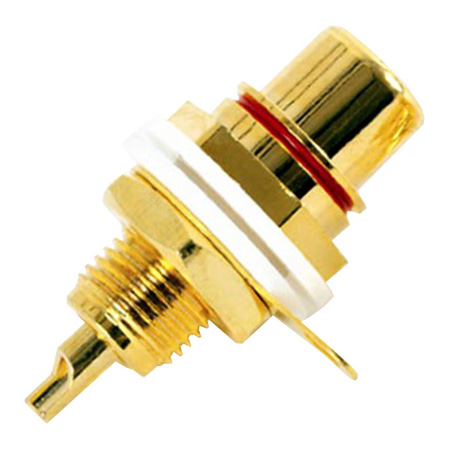 Calrad 30-300-WH Gold Plated Chassis Mt RCA Jack - White Insert