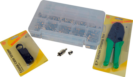 RCA Crimp Kit with 50 RCA Video Connectors Crimper Stripper & Case