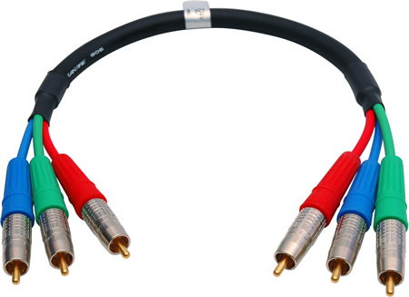 Canare Premium 3 Channel RCA Home Theater Cable 18 Inches