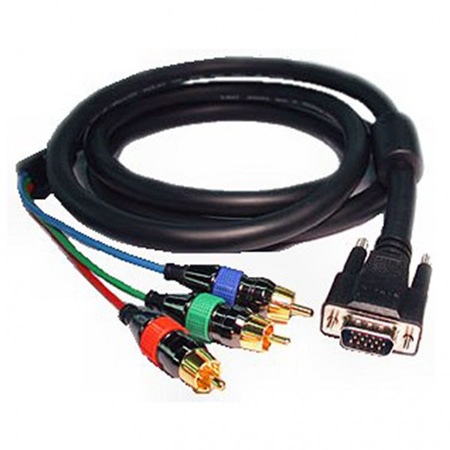 RGB Video Cable w/ HD15 Male to 3 RCA Males 12ft