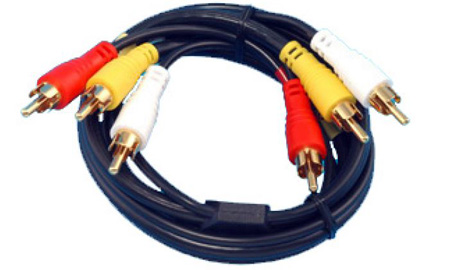 Triple Male to Male RCA Plugs - Dubbing & Monitor Cable 12ft