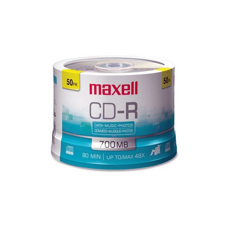 Maxell 648250 48x 700MB  CD-R Media 50-Pack Spindle 80 Minutes Max Recording Time