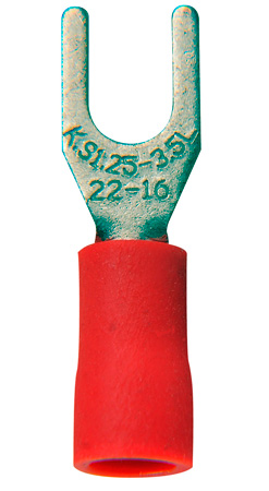 22-16 AWG Crimp Terminal #8 Spade 100 Pack Red
