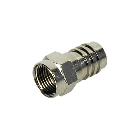 Professional F-59ALM F-Connector with Attached 1/2-Inch Crimp Ring