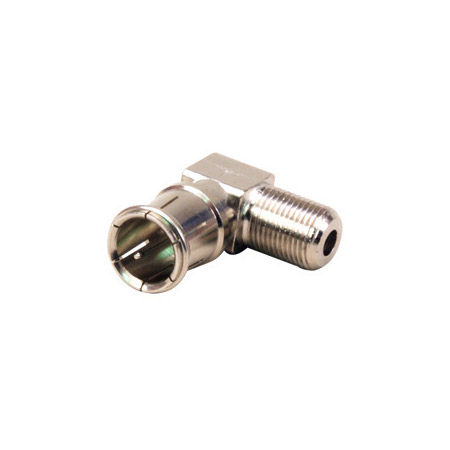 Right Angle F-Female to Push-On F Male Adapter