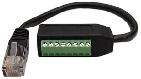 rj45 male to 8 position side terminal block adapter with 6
