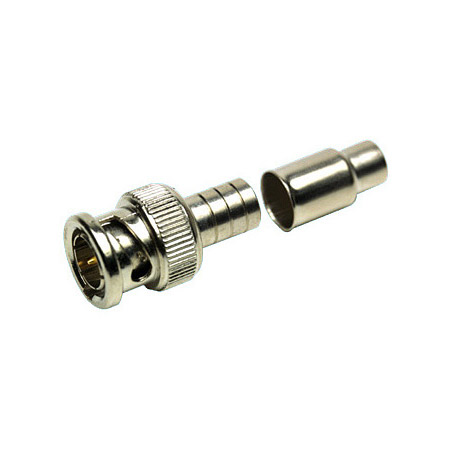 BNC Male 2-Piece Crimp Type Connector for RG6 Cable 75ohm