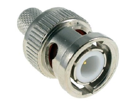 BNC Male 3-Piece Crimp Type Connector for RG6 - 50 Ohm