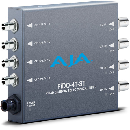 AJA FiDO-4T-ST 4K/UltraHD Quad-channel 3G-SDI to ST Fiber Mini-Converter - Transmitter