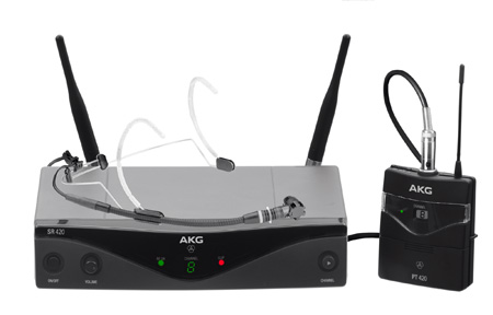 AKG WMS420 Professional Wireless Micophone System Headworn Set - Band A