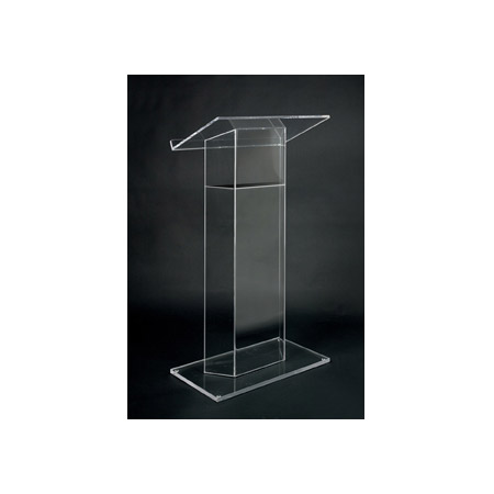 Amplivox SN3050 Clear Acrylic Floor Lectern Wing Style with Shelf