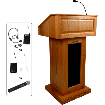 SW3020WT Victoria Lectern - Walnut - Wireless Handheld Mic