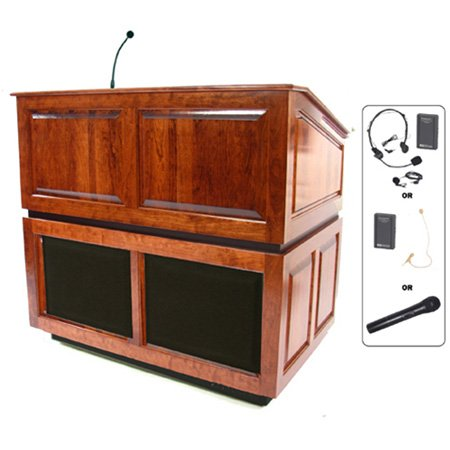 SW3035MP Ambassador Lectern with Sound - Maple - Wireless Handheld Mic