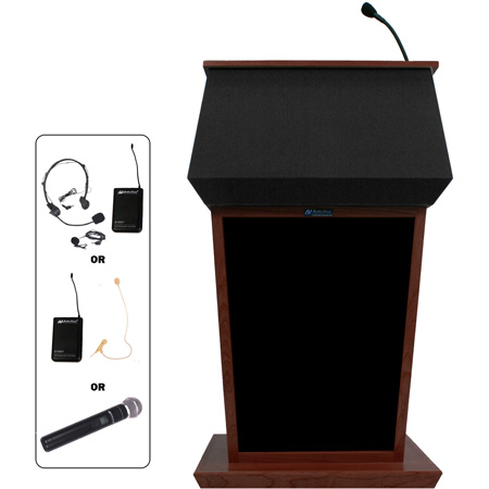 SW3040WT Patriot Lectern - Walnut - Wireless Handheld Mic