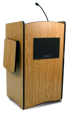 Amplivox SW3230 Wireless Multimedia Computer Lectern Handheld Mic- Walnut