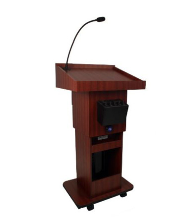 Amplivox SW505A Executive Adjustable Sound Column Lectern Walnut
