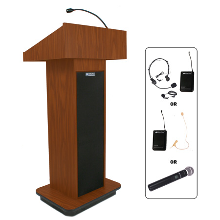 SW505OK Wireless Executive Sound Column Lectern - Oak