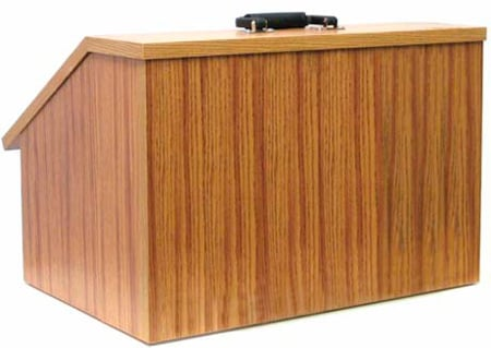 Amplivox W272WT Non-Sound EZ Speak Folding Lectern - Walnut