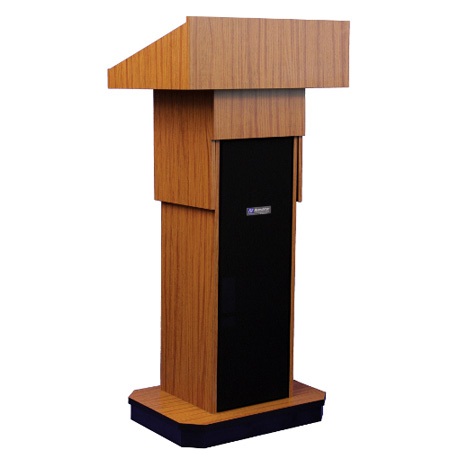 W505AWT Executive Adjustable Column Non-sound Lectern - Walnut