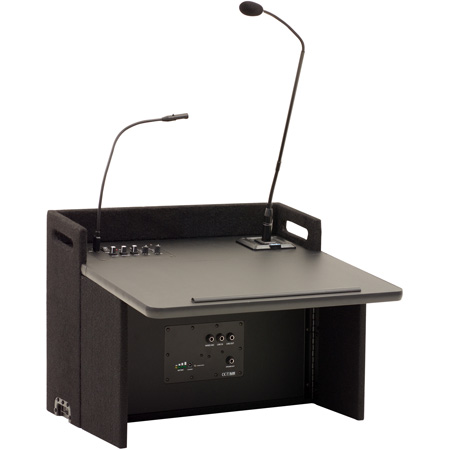 Anchor Acclaim Tabletop Lectern with Two Built-In Dual Wireless Mic Receivers