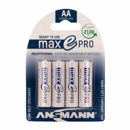 Ansmann 1312-0013 Max E Pro AA Slimline Rechargeable Battery - High Recycle Low Discharge 4-Pack w/Case