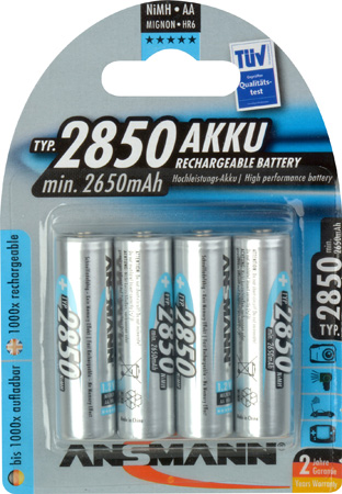 Ansmann 5035212 Mignon Ni-Mh AA 2850mAh Rechargeable Battery - Pack of 4