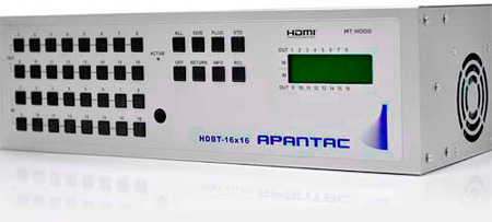Apantac HDBT-16x16 16x16 HDMI Matrix Switch with CAT 5e/6 Output Extenders