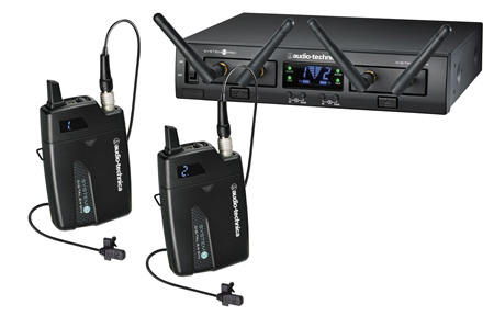 Audio Technica ATW-1311/L System 10 Pro Rackmount Digital Wireless with 2 Bodypack TXs & 2 RXs & 2 Lav Mics