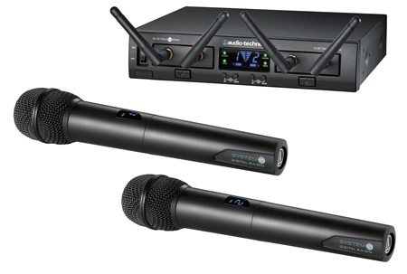 Audio Technica ATW-1322 System 10 Pro Rackmount Digital Wireless with 2 Receiver Units & 2 Handheld/Tx Microphones