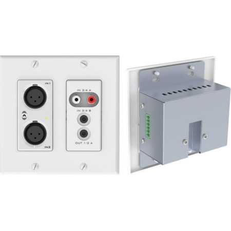 Attero Tech UND6IO-W-C 4x2 Channel 2 Gang US Wallplate with XLR RCA 3.5mm I/O PoE - SymNet Control Compatible - White