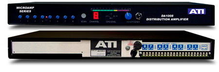 ATI DA1008-2 1X8 Distribution Amplifier metered Plus-22dBm Output Tem Strip I/O