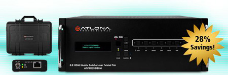 Atlona PRO2HD88M 8x8 HDMI Matrix Switcher w/8 CAT5 Rx & Test Kit Exclusive Package