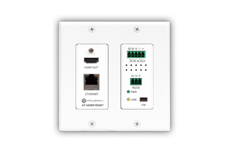 Atlona AT-HDWP-RSNET HDBaseT RX for HDMI 2-Gang US Decora Wall Plate w/ Ethernet