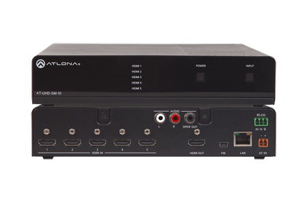 Atlona AT-UHD-SW-51 4K/UHD 5 Input HDMI Switcher with Auto-Switching