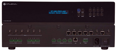 Atlona AT-UHD-PRO3-66M 4K/UHD Dual-Distance 6x6 HDMI to HDBaseT Matrix Switcher with PoE