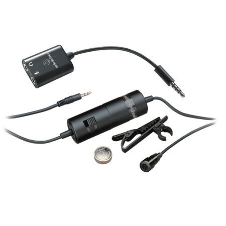 Audio-Technica ATR3350iS Omnidirectional Condenser Lavalier Microphone for Smartphones