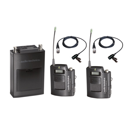 AT 1800 Series Camera-mount UHF Wireless (Dual-Bodypack with Lavs) Band C (541.500 to 566.375 MHz)