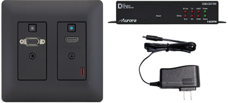 Aurora DXW-2-S1-B-4K 2 Input HDBaseT Wall Plate VGA & HDMI - CAT Extender up to 230 Feet / 4K UHD - Black