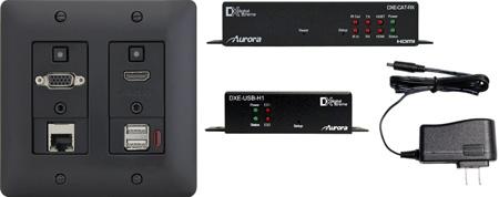 Aurora DXW-2E-S2-B 2 Input HDBaseT Wall Plate (VGA / HDMI / LAN) - 330 Ft/600 Ft CAT Extender (Black)