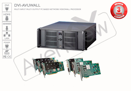 Avenview DVI-AVUWALL-4X4 PC based Video Wall Processor - 4X4