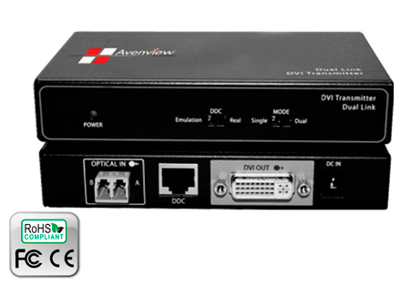 Avenview FO-DVI-DL-330X Dual Link DVI Extender over 2 LC Cable HDCP Compliant