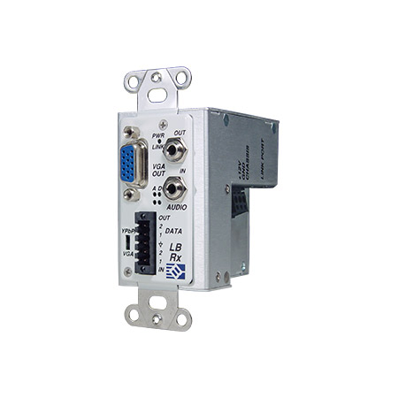 Broadata Link Bridge VGA w/Audio & Data Over 1 SC Multimode Fiber Tx/Rx Kit Wallplate