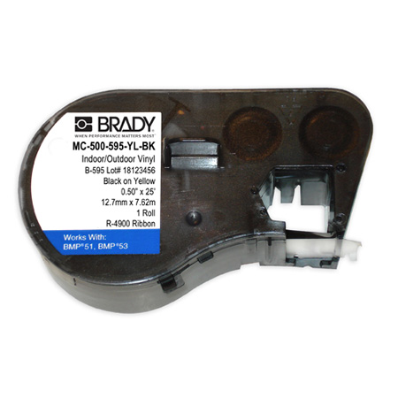 Brady MC-500-595-YL-BK BMP51/BMP53/BMP41 Label Maker Cartridge - Black on Yellow