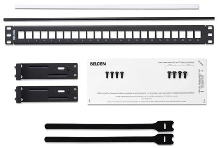 Belden AX103114 KeyConnect Modular Blank Keystone Patch Panel - 24-Port x 1RU - Black (Empty)