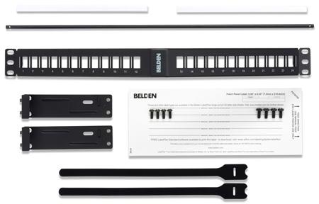 Belden AX104599 KeyConnect Angled Modular Keystone Patch Panel - 24 Port x 1RU - Black (Empty)