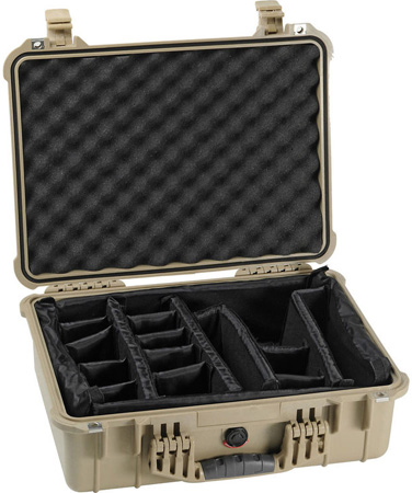 Pelican 1520 Case with Padded Dividers - Desert Tan