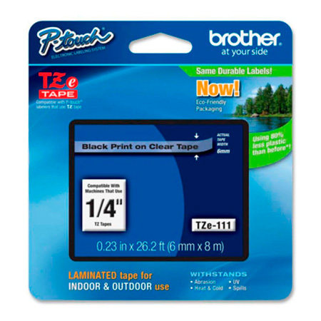 Brother TZe111 0.23 in x 26.2 ft (6mm x 8m) Black on Clear