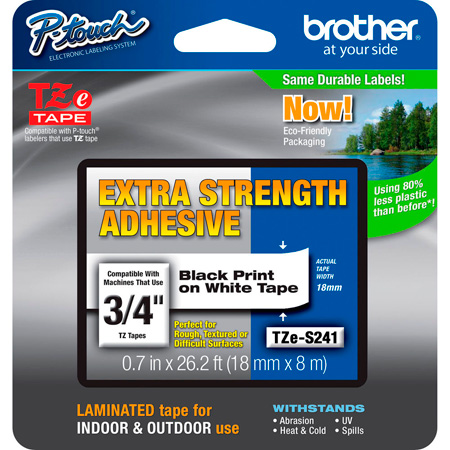 Brother TZeS241 0.7 in x 26.2 ft (18 mm x 8 m) Black on White Extra-Strength