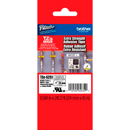 Brother TZeS251 0.94in x 26.2 ft (24mm x 8 m) Black on White Extra-Strength